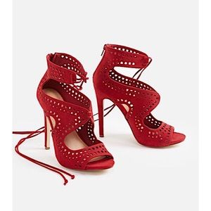 JUSTFAB | Gisane Cut out Lace Up Sandal Heels 7.5